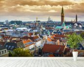Copenhagen Skyline wallpaper mural in-room view