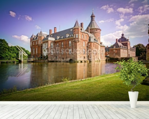 Castle and Moat, Anholt mural wallpaper room setting
