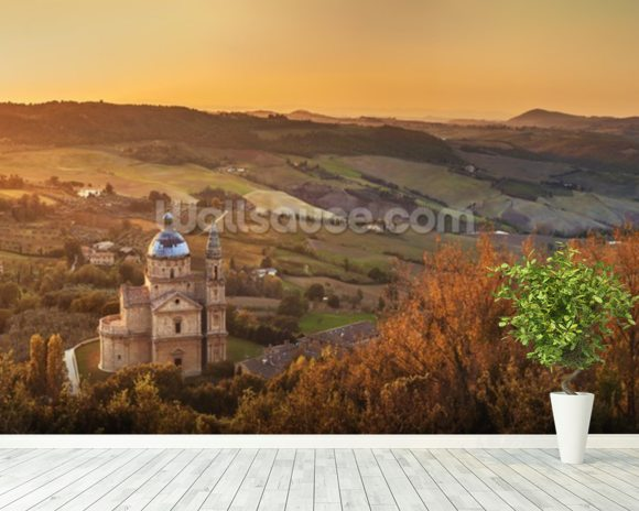 Montepulciano, Church of San Biagio wallpaper mural room setting
