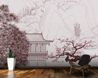 Delicate Chinese Landscape Illustration Wall Mural Wall Murals Wallpaper