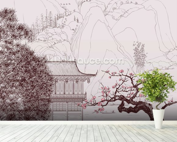 Delicate Chinese Landscape Illustration wallpaper mural room setting