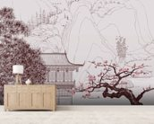 Delicate Chinese Landscape Illustration wallpaper mural living room preview