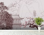Delicate Chinese Landscape Illustration wallpaper mural in-room view