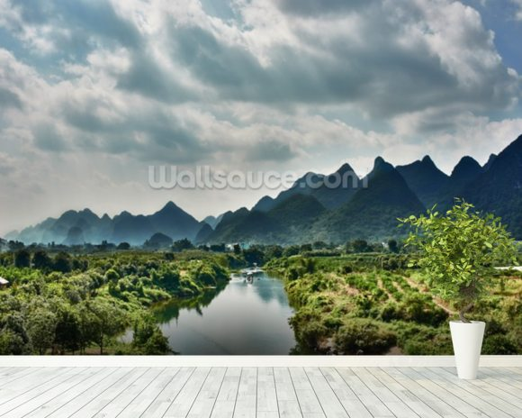 Yulong River Guilin, Yangshuo Guangxi wallpaper mural room setting