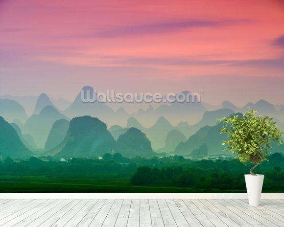 Karst Mountains of Guilin mural wallpaper room setting