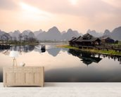 Sunrise in Yangshuo, Guilin wall mural living room preview