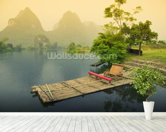 Bamboo Raft, Yangshou mural wallpaper room setting
