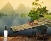Bamboo Raft, Yangshou mural wallpaper kitchen preview