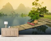 Bamboo Raft, Yangshou mural wallpaper living room preview