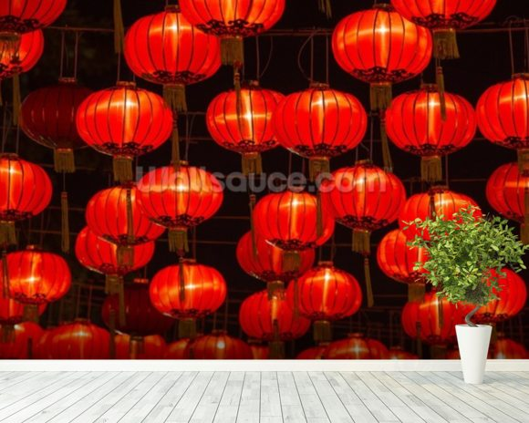 Chinese New Year Lanterns wall mural room setting