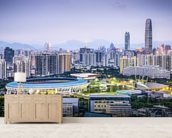 Shenzhen Cityscape mural wallpaper living room preview