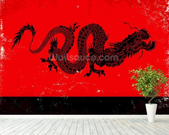 Black dragon wallpaper wall mural wallsauce usa for Dragon mural wallpaper