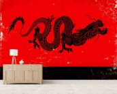 Black Dragon wallpaper mural living room preview