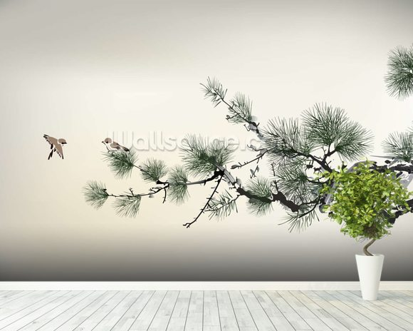 Pain Tree wall mural room setting