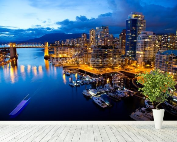 Vancouver at Night wallpaper mural room setting
