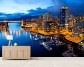 Vancouver at Night wallpaper mural living room preview