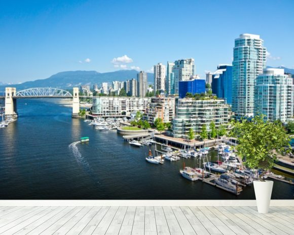 View of Vancouver wall mural room setting