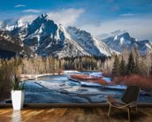 Mount Lorette and Kananaskis River mural wallpaper kitchen preview