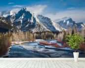 Mount Lorette and Kananaskis River mural wallpaper in-room view
