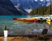 Moraine Lake Canoes mural wallpaper kitchen preview