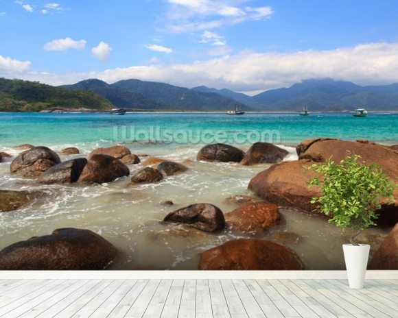 Ilha Grande Beach, Brazil mural wallpaper room setting