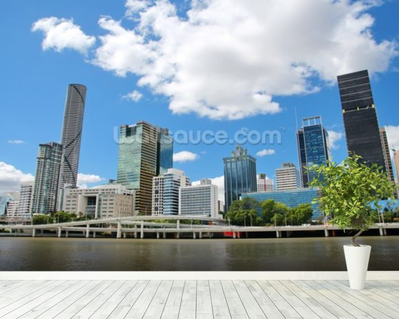 Brisbane cityscape wallpaper wall mural wallsauce usa for Cityscape wall mural