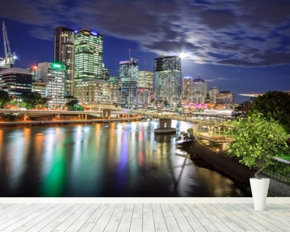 Brisbane at Night mural wallpaper room setting