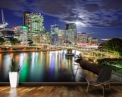Brisbane at Night mural wallpaper kitchen preview