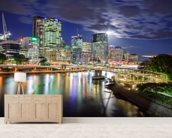 Brisbane at Night mural wallpaper living room preview