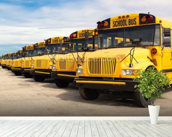 School Buses mural wallpaper room setting