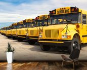 School Buses mural wallpaper kitchen preview