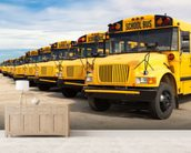 School Buses mural wallpaper living room preview