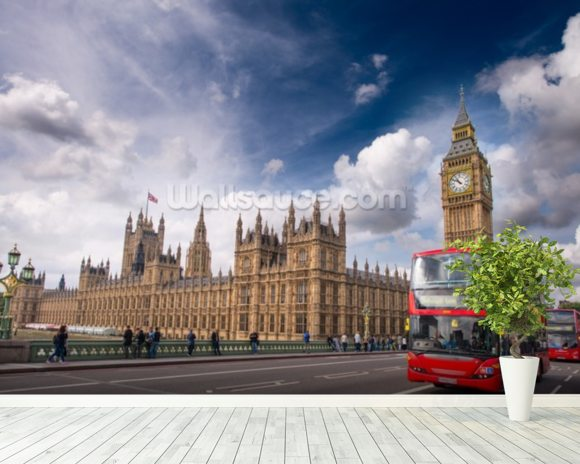 Double Decker Bus on Westminster Bridge wallpaper mural room setting
