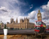 Double Decker Bus on Westminster Bridge wallpaper mural kitchen preview