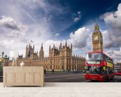 Double Decker Bus on Westminster Bridge wallpaper mural living room preview