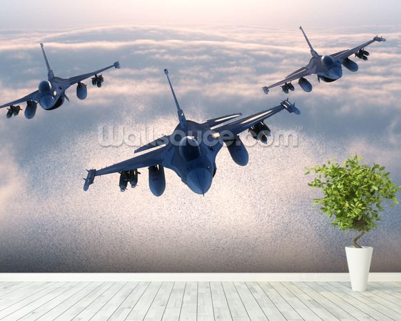 Fighter Jets wall mural room setting