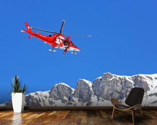 Mountain Rescue Helicopter wallpaper mural