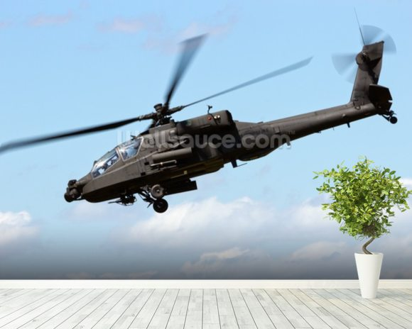 Apache Helicopter mural wallpaper room setting
