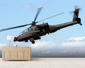 Apache Helicopter mural wallpaper living room preview