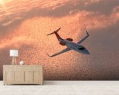 Private Jet at Sunset wall mural living room preview