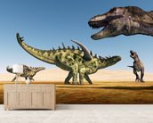 Dinosaurs Gigantspinosaurus and Tyrannosaurus Rex wall mural living room preview