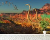 Omeisaurus Dinosaurs wallpaper mural in-room view