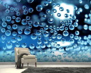 Water droplets mural wallpaper