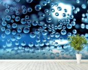 Water droplets mural wallpaper in-room view