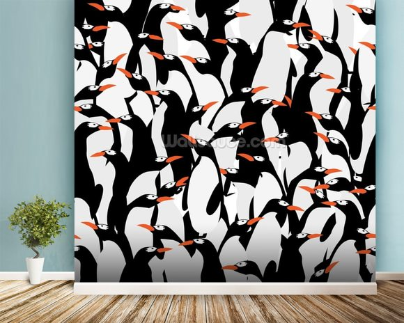 Penguins Pattern mural wallpaper room setting