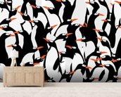Penguins Pattern mural wallpaper living room preview