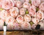 Bright Pink Roses mural wallpaper kitchen preview