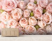 Bright Pink Roses mural wallpaper living room preview