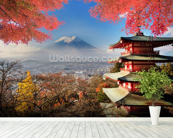 Mt. Fuji with Autumn Colours mural wallpaper room setting