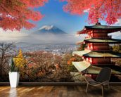 Mt. Fuji with Autumn Colours mural wallpaper kitchen preview